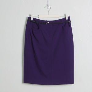 Calvin Kline Purple Belted Pencil Skirt